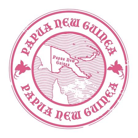Tampon en caoutchouc grunge avec le nom et la carte de la Papouasie-Nouvelle-Guinée Vecteurs