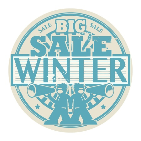 loudhailer: Abstract grunge rubber stamp with the words Big Winter Sale written inside the stamp Illustration