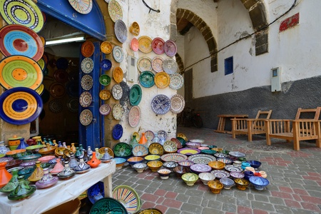 ESSAOUIRA - JULY 16  Traditional moroccan ceramics for sale in a souk  market  of Essaouira, Morocco, July 16, 2013  Essaouira is one of the most popular tourist place on Atlantic coast in Morocco