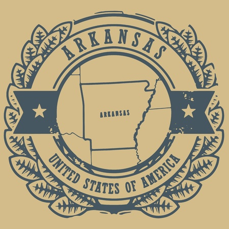 Grunge rubber stamp with name and map of Arkansas, USA Vector