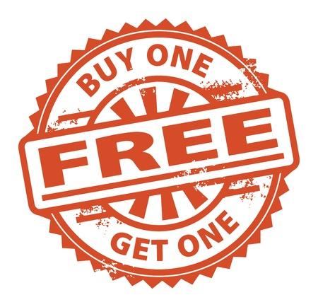 購入 1 つを得る 1 つ無料スタンプ内に記述されたテキストで抽象的なグランジ ゴム印  イラスト・ベクター素材