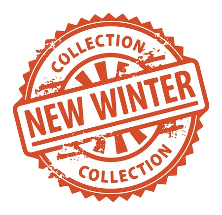 Abstract grunge rubber stamp with the text New Winter Collection written inside the stamp Vector