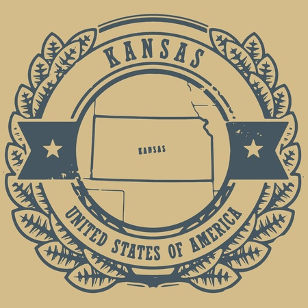 Grunge rubber stamp with name and map of Kansas, USA Vector