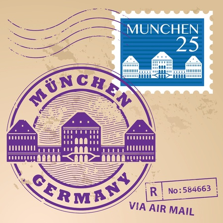 Stamp set with words Munchen, Germany inside Vector