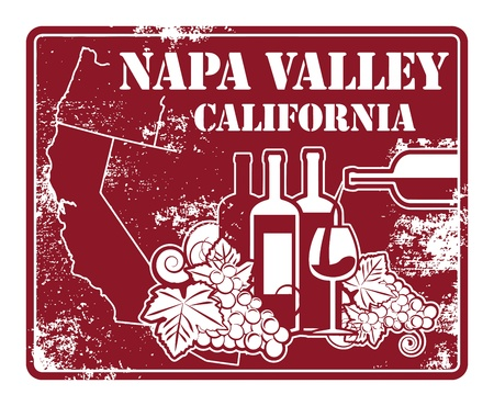 napa valley: Grunge rubber stamp with words California, Napa Valley