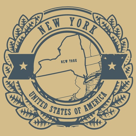 new york map: Grunge rubber stamp with name and map of New York, USA Illustration