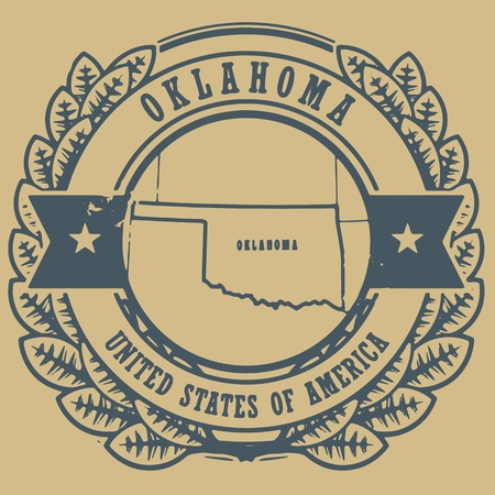 oklahoma: runge rubber stamp with name and map of Oklahoma