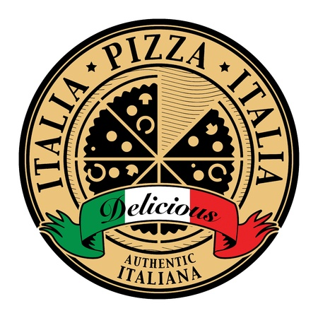 Stamp with text Italia Pizza - Delicious written inside Vector