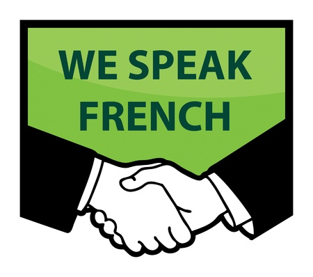 french symbol: Business handshake and text We Speak French