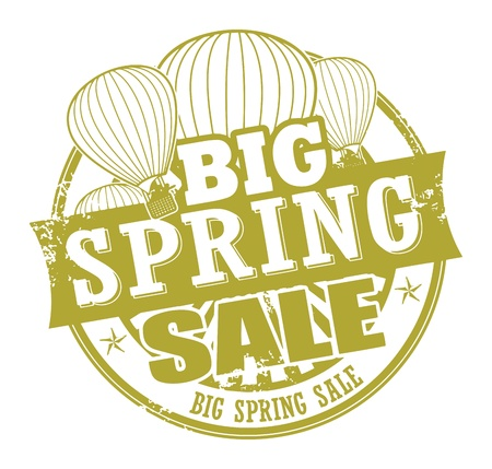 hot announcement: Abstract grunge rubber stamp with the words Big Spring Sale written inside the stamp