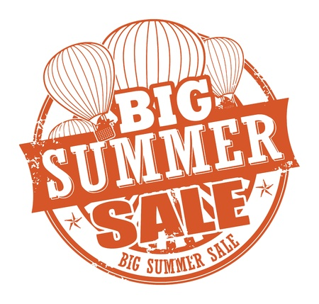 hot announcement: Abstract grunge rubber stamp with the words Big Summer Sale written inside the stamp