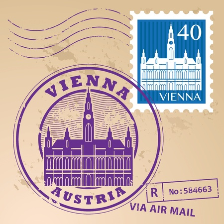 Stamp set with words Vienna, Austria inside Vector