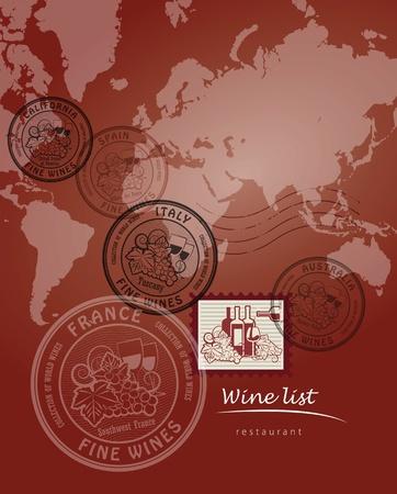Wine list design Vektorové ilustrace