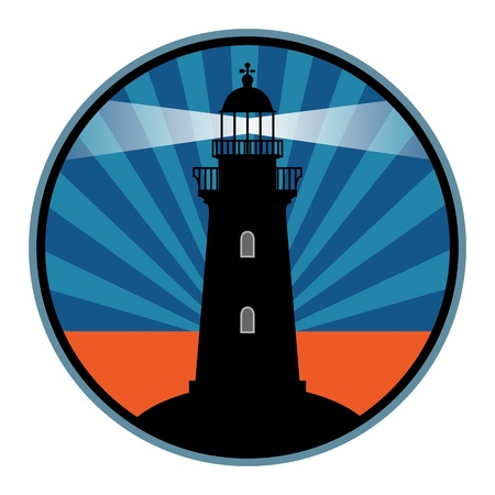 retro sunrise: Label with lighthouse Illustration