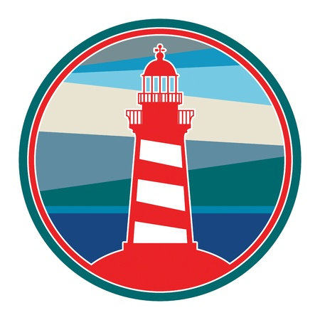 product signal: Label with lighthouse Illustration