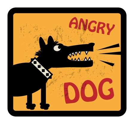 Angry Dog sign Vector