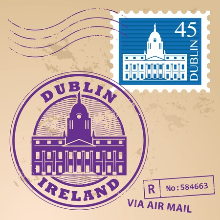 irish cities: Stamp set with Dublin, Ireland inside Illustration