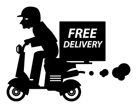 pizza delivery: Delivery boy riding motor bike Illustration