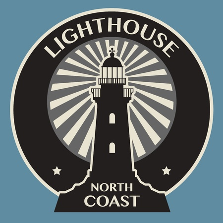 Sticker of label met Lighthouse silhouet