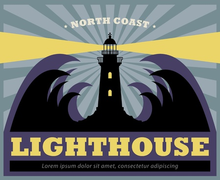 Sticker or label with Lighthouse silhouette Vector
