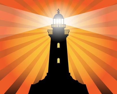 抽象的な背景に灯台のシルエット