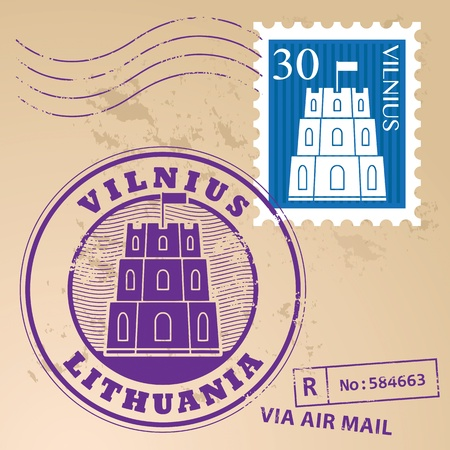 Stamp set with words Vilnius, Lithuania inside Vector