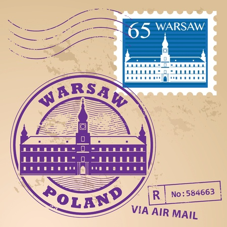 warsaw: Stamp set with words Warsaw, Poland inside Illustration