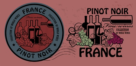 pinot: Stamp set with words France, Fine Wines, Pinot Noir