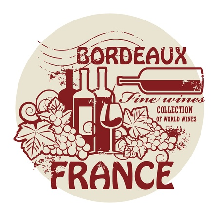 Stamp with words France, Fine Wines, Bordeaux Stock Vector - 21635833
