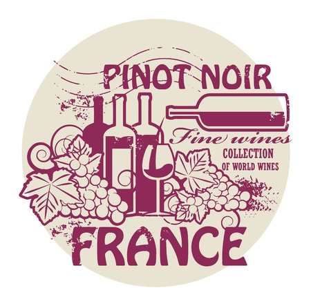 noir: Stamp with words France, Fine Wines, Pinot Noir