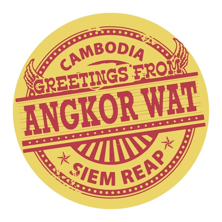 cambodia: Grunge color stamp with text Greetings from Angkor Wat, Cambodia