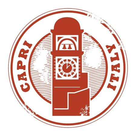 postmark: Grunge Stempel mit dem Namen Capri, Italien innerhalb der Stempel geschrieben