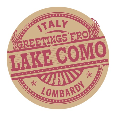 lake como: Grunge color stamp with text Greetings from Lake Como, Italy Illustration