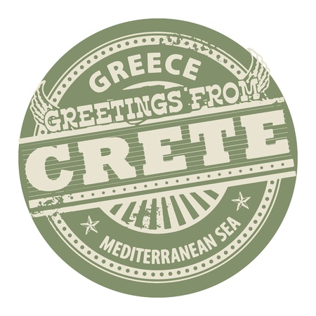 greece stamp: Grunge color stamp with text Greetings from Crete, Greece Illustration