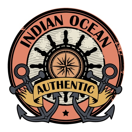 indian ocean: Grunge rubber color stamp with the words Indian Ocean written inside the stamp  Illustration