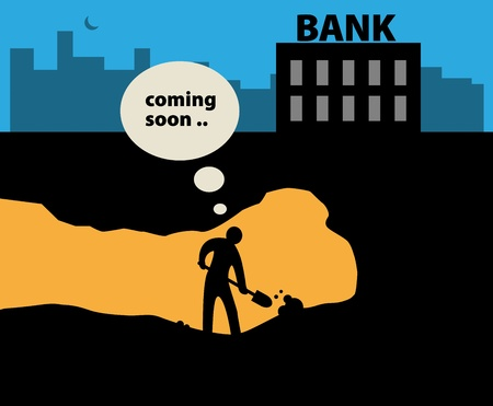 digging: Abstract miner and bank background