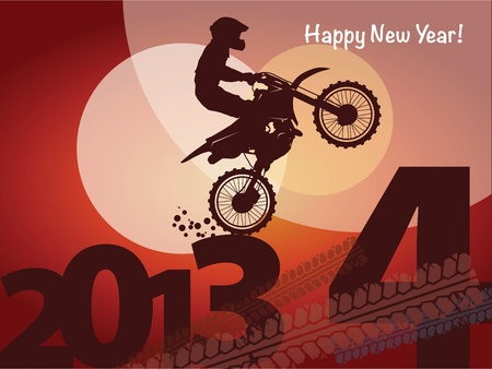 New year motocross race Vector