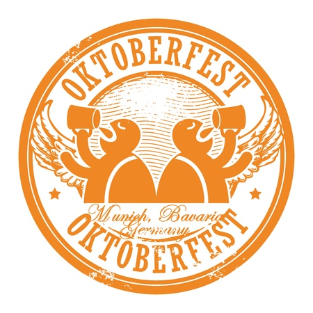 octoberfest: Grunge rubber stamp with beer and the text Oktoberfest written inside the stamp