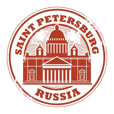 saint petersburg: Grunge rubber stamp with words Saint Petersburg, Russia inside