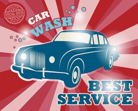 auto lavado: Signo de Lavado Retro coche Vectores