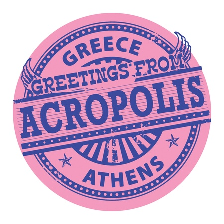 the acropolis: Grunge color stamp with text Greetings from Acropolis, Greece