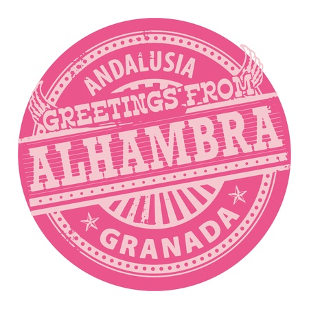 granada: Grunge color stamp with text Greetings from Alhambra, Andalusia