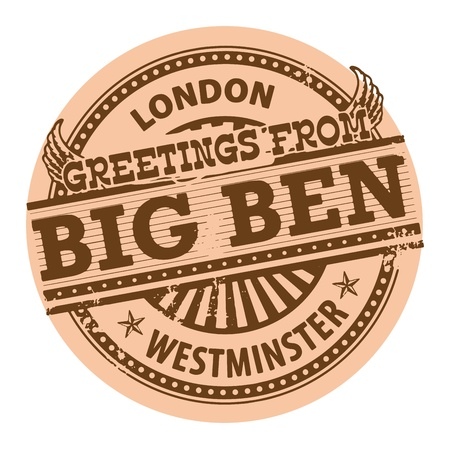 Grunge color stamp with text Greetings from Big Ben, London Vector
