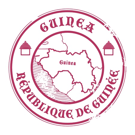 Grunge rubber stamp with the name and map of Guinea Vector