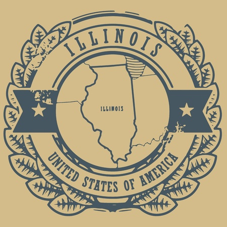Grunge rubber stamp with name and map of Illinois, USA Vector
