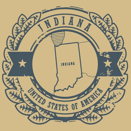 Grunge rubber stamp with name and map of Indiana, USA Vector