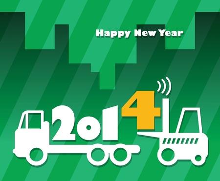 lift truck: Feliz A?o Nuevo de tarjetas de felicitaci?n - cami?n de tenedor ascensor en el trabajo