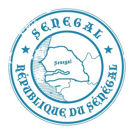 Grunge rubber stamp with the name and map of Senegal Vector