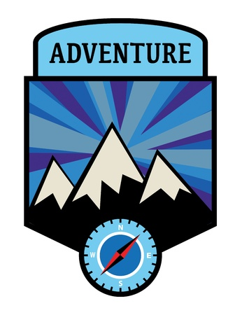 Mountain adventure sign Vector