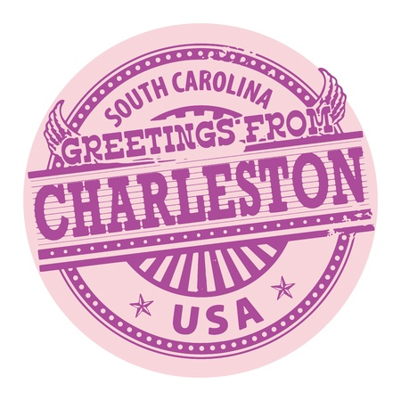Grunge color stamp with text Greetings from Charleston, South Carolina Vector